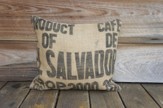 Recycled Coffee Bag Pillow, Burlap Coffee Sack, Throw Pillow,  Accent Pillow, Rustic Decor, Recycled, Upcycled, 18x16