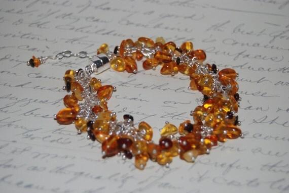 Natural Baltic Amber Charm Bracelet.