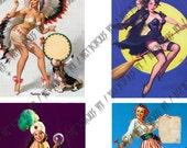 Vintage Halloween Pin Up Girls Digital Collage Sheet - Gil Elvgren - 12 Images (2 x A4)