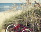 Red Beach Cruiser Bike Path Sand Dune Nautical Decor End Summer Peaceful Beach Cottage House Wall Art Pastel Dreamy Vintage Sea Oats Nature