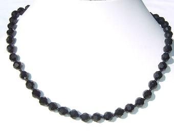 1940s Fantastic MIDNIGHT Black Crystal Choker Necklace