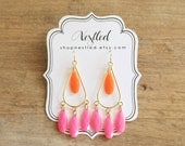 Neon Pink and Orange Teardrop Chandelier Statement Earrings