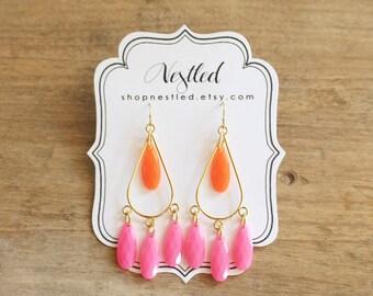 Neon Pink and Orange Teardrop Chandelier Statement Earrings