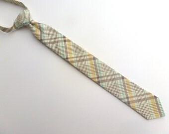 Boys Skinny Tie- Taupe, Yellow and Aqua- Sizes newborn-7 years