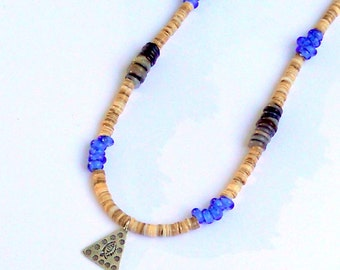 Shell Beads Necklace Silver Fish Pendant Unisex Cobalt Blue Beach Heishi Hill Tribe Summer Jewelry Indonesian Trade Beads