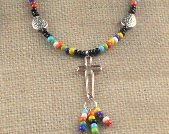 Boho Cross Multicolor Long Beaded Necklace Silver Hippie Love Beads Tassel Bohemian Modern Christian Paisley Fashion Jewelry Gift Teen Girls