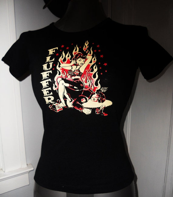 Ladies pin up fluffer shirt - customized - with a rockabilly/psychobilly/heavy metal/alternative style this is a must have.