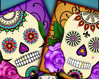 sugar skulls - day of the dead, coasters, note cards, journaling, scrapbooking