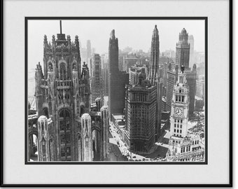 Vintage Chicago Art - Photography - Black & White Photo - Old Historic Grand Avenue 1930