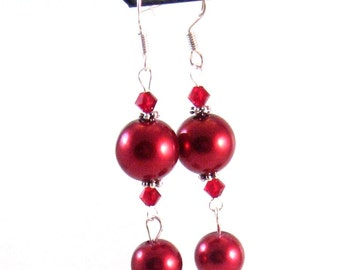 Red Glass Pearl & Swarovski Crystal Earrings, Red Jewelry, Red Pearl Jewelry, Christmas Jewelry, Holiday Jewelry, Womens Fashion