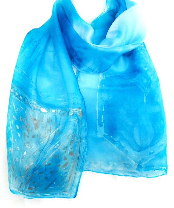 Blue Silk Scarves. Hand Painted Long Silk Scarf. Women Blue Silk Scarf. Silver Luxury Scarf. 10x60 in. (25x150 cm). Ready to Ship.