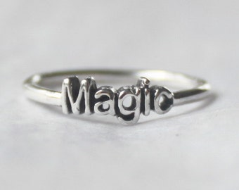 Magic word Ring , 925 Sterling silver stacking ring with Poetic / Inspirational word, statement ring, Love ring