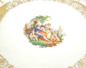 Serving Platter with French Courting Scene. Vintage Dish with 22 Kt Gold Detailing. Romantic Decor. French Country Home. Plate Collection.