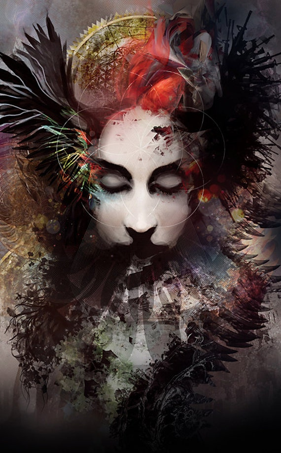 Art Print Digital Painting Tarot Surreal Female Face Judgement