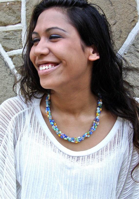 Millefiori necklace - millifiori necklace - triple strand necklace - multi strand necklace -  Spring jewelry by Sparkle City Jewelry