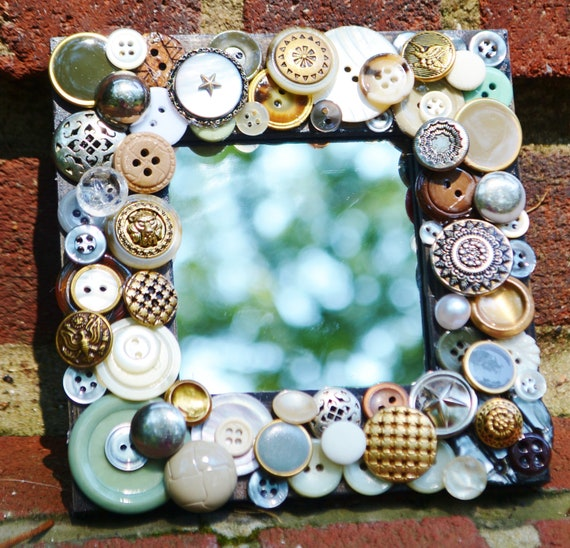 handmade recycled button mosaic mirror, vintage buttons, button art