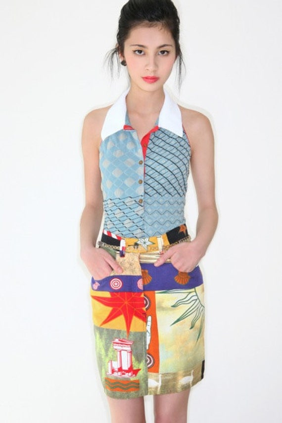 REDUCED was 182 now 145 the best vintage 1980's MOSCHINO mixed photo print high waisted mini skirt