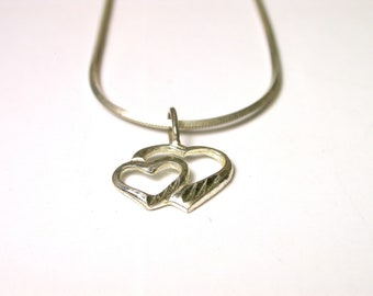 Vintage Heart Sterling Silver Necklace - Double Heart Pendant - Love Necklace - Two Heart Pendant - Weight 3.4 Grams - Sterling Silver Chain