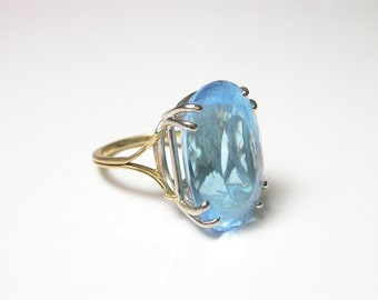 Large Blue Topaz 18k Yellow and White Gold Ring - Size 4.5 - Weight 11.5 Grams # 840