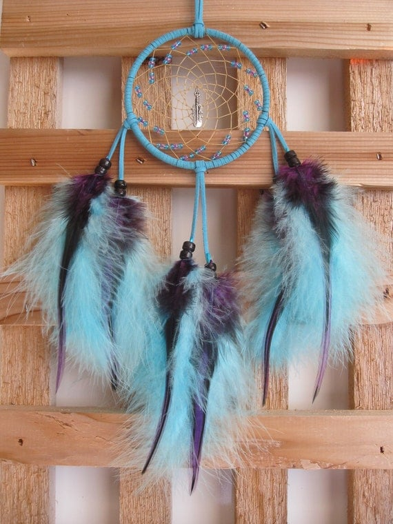 Turquoise Suede Dream Catcher with Turquoise Marabou & Rooster Saddle Feathers