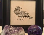 Nevermore Quoth the Raven embroidery cotton canvas black frame Edgar Allan Poe