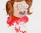 "ORIGINAL PAINTING ""Eileen"" Regular Show Fan Art, 5x8 inches Watercolor Drawing Mordecai Rigby"