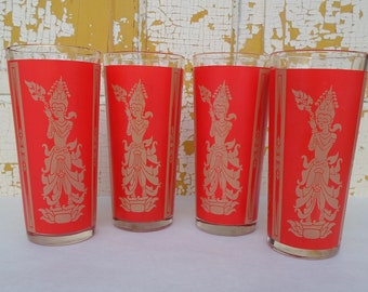 Vintage,  Hindu Inspired, Glassware, Red & Gold, Bar Glass, Barware, Set of Four, Mid Century Modern
