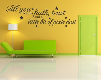 Tinkerbell Faith Trust Pixie Dust Wall Quote Decal Kids Room Sticker Quotes (E42)