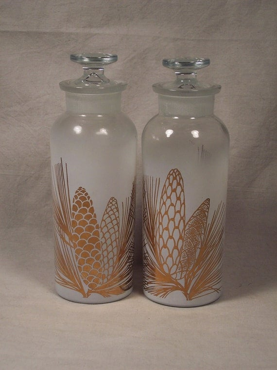 Pair of Vintage 1970s L&L Pine Cone Frosted Glass Decanters