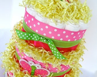 Butterfly Diaper Cake - Pink & Green Polka Dot Butterfly Baby Girl Diaper Cake Shower Centerpiece