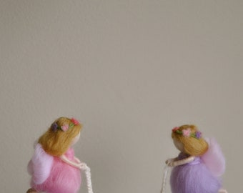 Nursery Mobile Waldorf inspired needle felted: Fairies with Baby