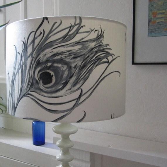 Peacock Feather Design 35cm Diameter Drum Lampshade In Graphite Shades .- Suits UK & European Light Fittings