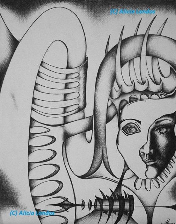 Drawing - Woman hiding behind swirl mask