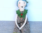 Isabella : Handmade Rag Doll - One of a Kind- 22 Inches - Recycled and Vintage Textiles - Aqua Blue Hair and Turquoise Eyes
