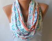 BS5202 Ethnic patterned cotton infinity scarf-Circle scarf-Winter scarf-Ethnic scarf-Women scarf-Boho scarf-Birthday gift