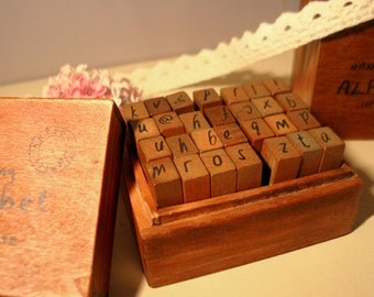 Antique Stamps Set - Handwriting Alphabet Stamp - Rubber Stamp - Diary Stamp - Lowercase