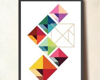 "Geometric Print. ""Modular Tangram"", Geometric poster A3. Wall art, Mid Century Modern, Scandinavian design inspired. Colorful geometric art"