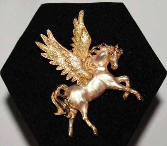KIRKS FOLLY Glitter Enamel Flying Horse Pegasus Brooch