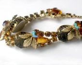 JULIANA Style Bracelet Yellow Amber Rhinestone Glass Aurora Borealis Crystal Gold Tone Vintage 1950s Jewelry Collectable Autumn Winter