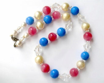 Pink and Blue Glass Necklace 1950s Vintage Beaded Jewelry Pastel  Color Collectible Glass
