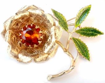 Ember Flower Brooch Sarah Coventry Amber Rhinestone Green Enamel  Vintage 1970s Collectible Jewelry Pin Sarah Coventry For Women