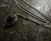 Sterling silver necklace, Garnet pendant, dainty jewlery,  Blood Red, FREE SHIPPING, Bali
