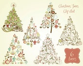 Christmas Tree Clip Art, clipart, digital set, card, retro vintage style, Seasons Greetings templates, Personal and Commercial Use.