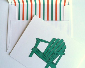 Coastal Note Card -Adirondack Chair Note Card with coordinating striped lined white envelopes
