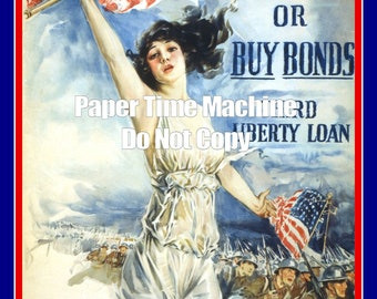 Howard Chandler Christy Fight Or Buy Bonds WWI Vintage Art Print - Digitally Remastered Fine Art Print / Poster