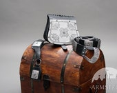 Medieval Leather and Steel Set: Bag, Belt and Scabbard
