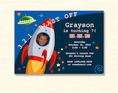 Birthday Party Invitation - Outer Space Rocket Ship - 7 x 5 or 6 x 4 inch Digital File - JPG - ID 5090-01