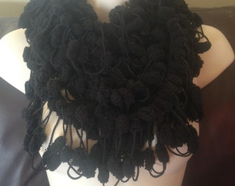 Scarf,infinity, scarflette, lariat, knitted jewellery, crochet, black, designer, special occasion, wedding.