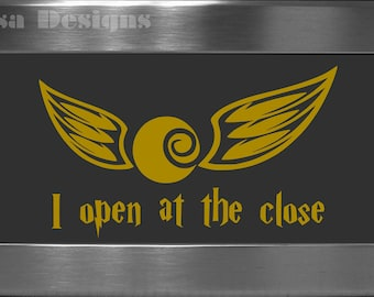 """Harry Potter inspired """"I open at the close"""" / Golden Snitch vinyl decal - Car decal - Macbook decal - Harry Potter decal - Quidditch decal"""