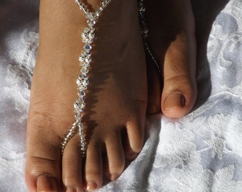 Swarovski Barefoot Sandal Beach Wedding Jewelry Anklet Wedding Foot Jewelry Beach Sandals ---- ONE PAIR